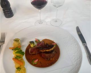 """Simmental"" faux fillet tournedos, pan-fried foie gras cutlet, summer truffle-reduced juice, sweet spice potato mousseline"